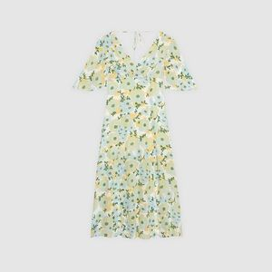 sandro long silk dress with floral print 36 ntw
